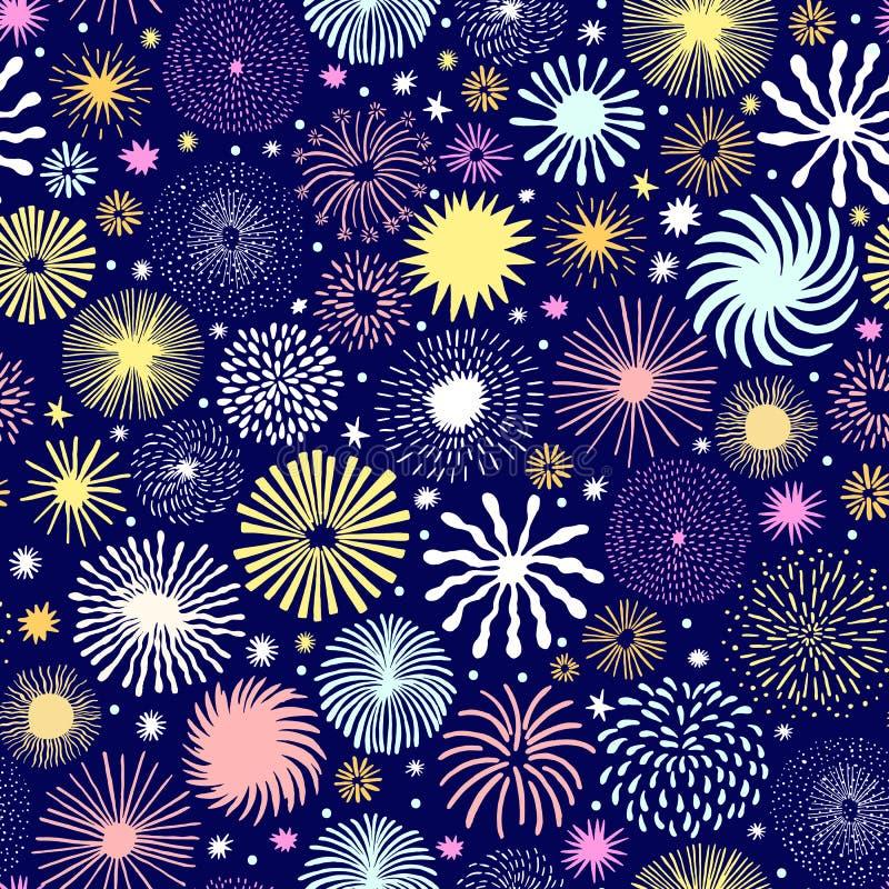 Fajerwerku wektorowy bezszwowy wzór Wakacje gwiazda ilustracji