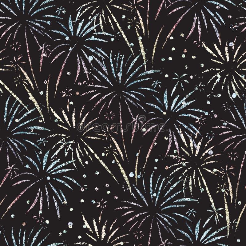 Fajerwerku wektoru bezszwowy wzór Błyskotliwości folia odizolowywająca Kruszcowi błyszczący fajerwerki na czarnym tle Jaskrawi de ilustracja wektor