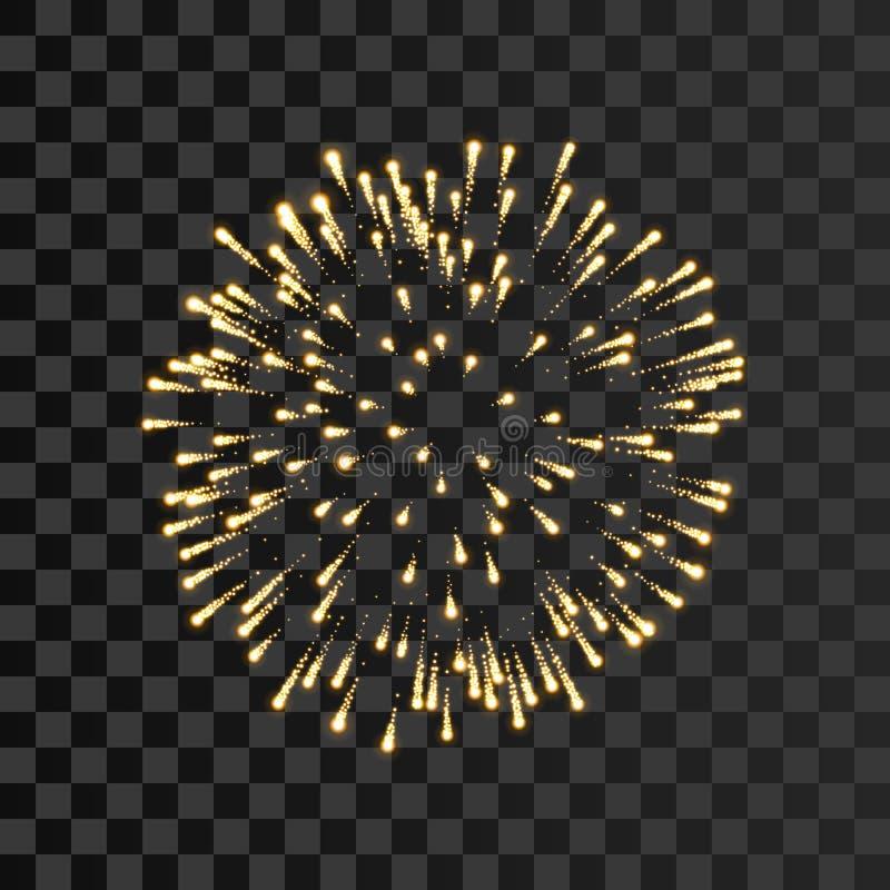 Fajerwerku złocistego błyskotania odosobniony przejrzysty tło Piękny złoty ogień, wybuch dekoracja, wakacje, boże narodzenia ilustracji