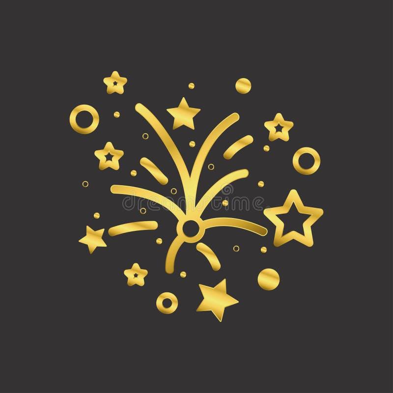 Fajerwerku złota ikona Złoty pirotechniczny salutu znak na ciemnym tle wektor royalty ilustracja