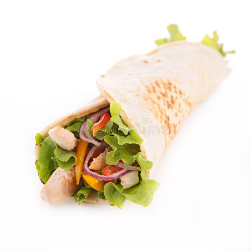 Fajita с овощем и цыпленком стоковое изображение