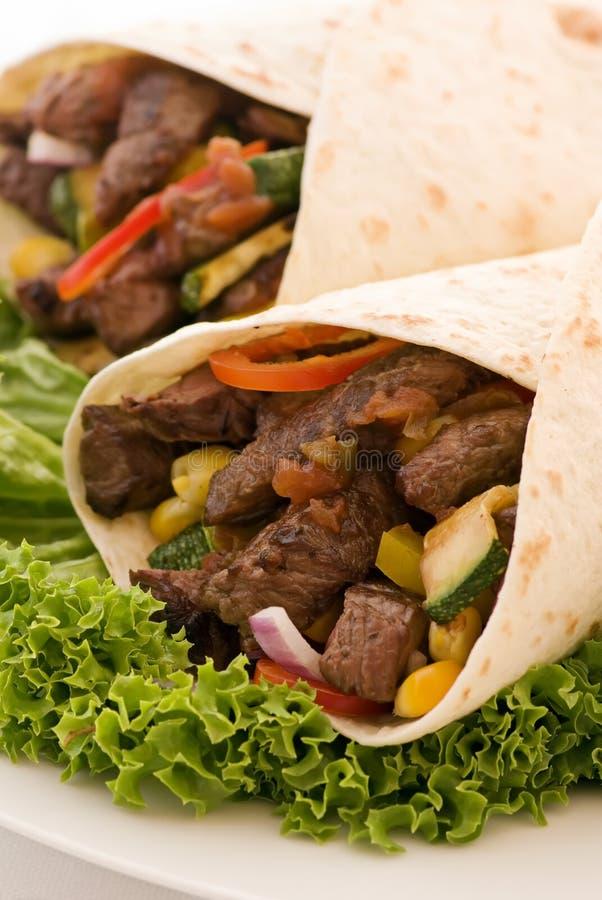Fajita met Salade stock afbeelding
