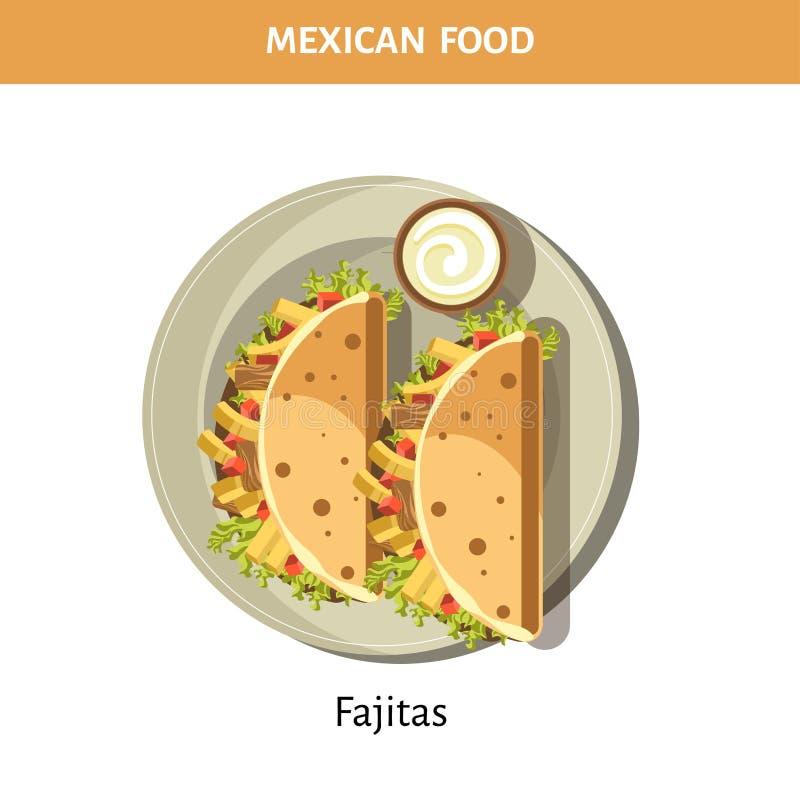 Fajitas délicieux avec de la sauce à ail de la nourriture mexicaine illustration stock