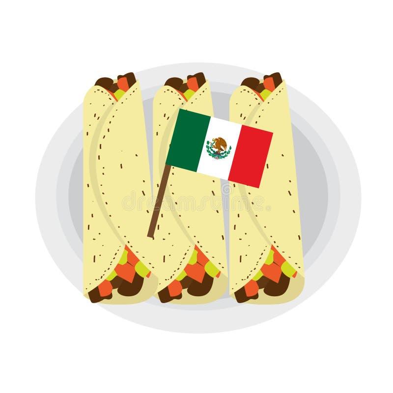 Fajitas de viande avec un drapeau illustration libre de droits
