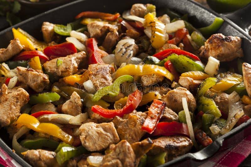 Fajitas faits maison de poulet avec des légumes photographie stock