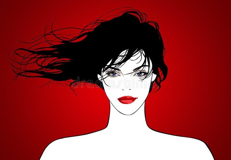 fajne włosy latające położenie prawdziwych kobiet young ilustracja wektor