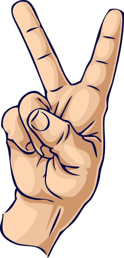 fajny gest dłoni zwycięstwa ilustracja wektor