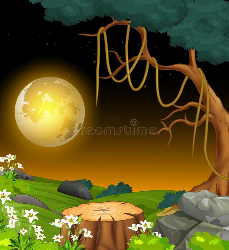 Fajny krajobraz Las Night Grass Field View z kreskówką Moonlight royalty ilustracja