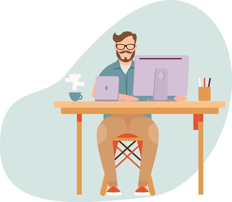 Fajny płaski projekt pracownika zewnętrznego Interes człowieka Mężczyzna siedzący na biurku pijący kawę i pracujący Ilustracja we ilustracji