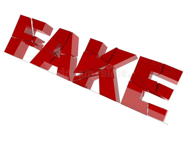 Fake. Text in red isolated on white breaking apart vector illustration