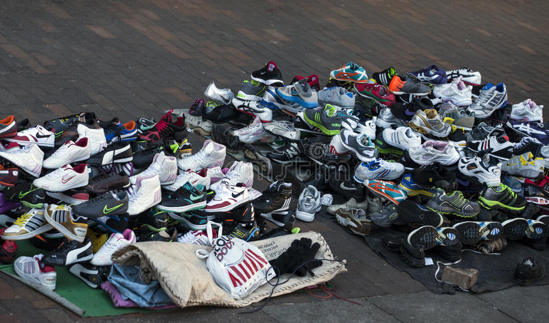 Download Fake Branded Footwear Sold On A Sidewalk Editorial Image - Image: 32851130