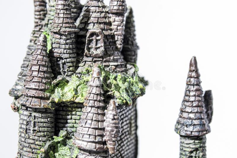 Fake castle with seaweed in a white backgorund royalty free stock photos