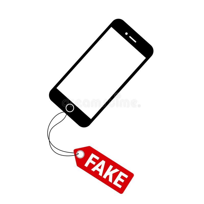 Fake and counterfeit smartphone. Illegal copy of original branded smart phone and mobile is sold by seller in the shop and retail. Cheap replica and imitation stock illustration