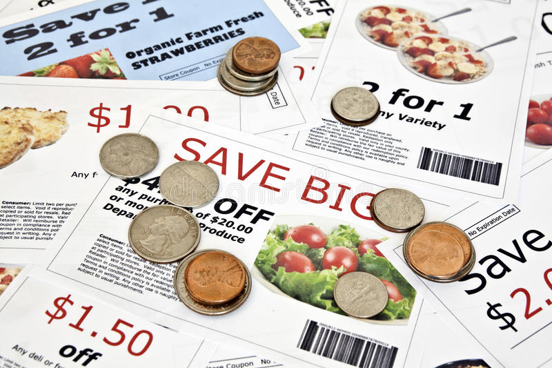 Fake Coupons With US Coins Royalty Free Stock Images
