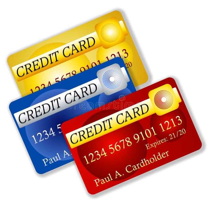 Fake Credit Cards Illustration. An illustration featuring a collection of 3 fake credit cards in the name of Paul. A Cardholder stock illustration
