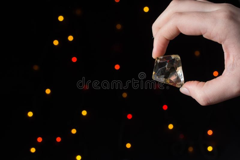 Fake diamond stone made with glass stock photography