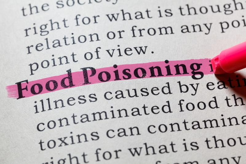 Definition of Food Poisoning. Fake Dictionary, Dictionary definition of the word Food Poisoning. including key descriptive words stock image