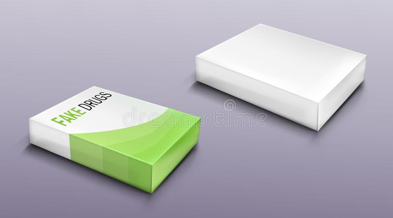 Fake drugs package set, mockup carton blank box royalty free illustration