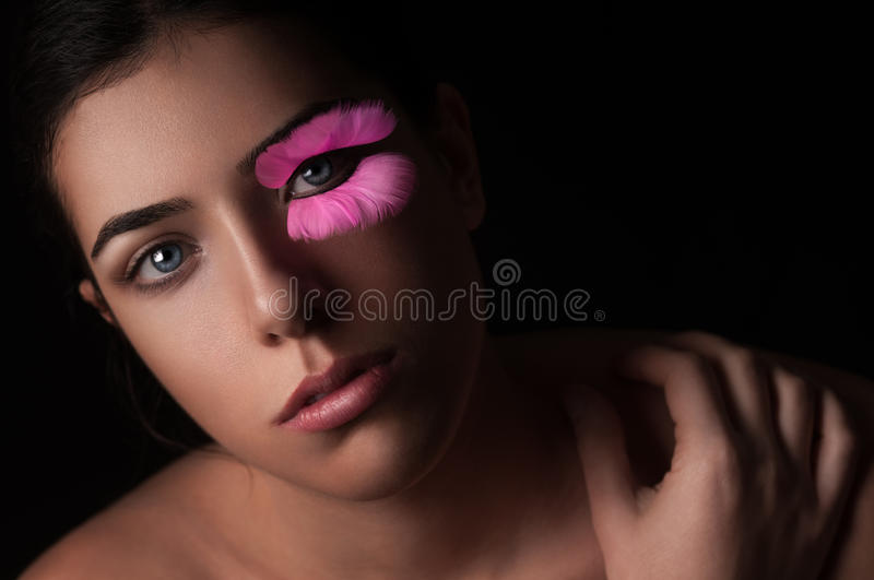Portrait of Girl with Fake Eyelashes royalty free stock image