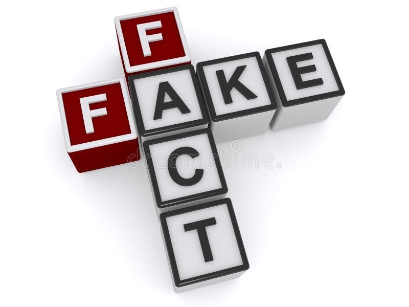 Fake fact heading. Fake fact crossword heading on white background stock illustration