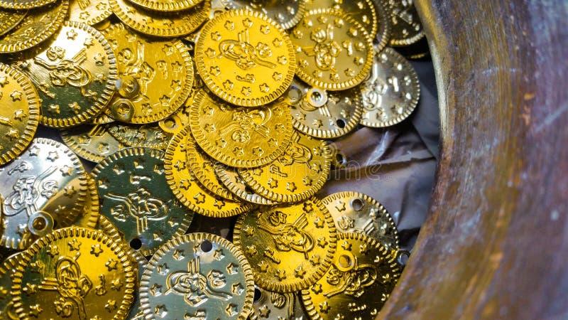 Fake gold and silver coins closeup. Fake Ottoman gold and silver coins stock photography