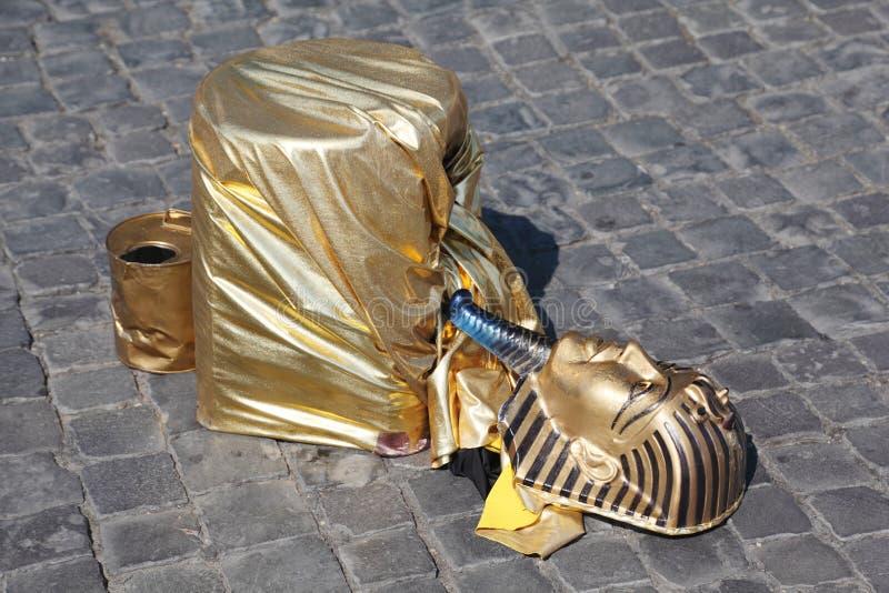 Download Fake Golden Mask Pharaoh Lies On Pavement Stock Image - Image: 18361843