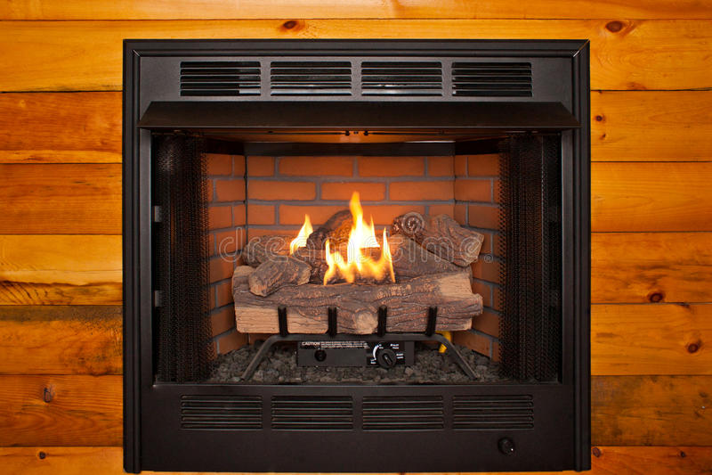 Fake Log Fireplace Stock Image Image Of Artificial