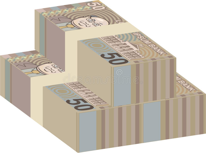 Fake money stacks. File eps stock illustration