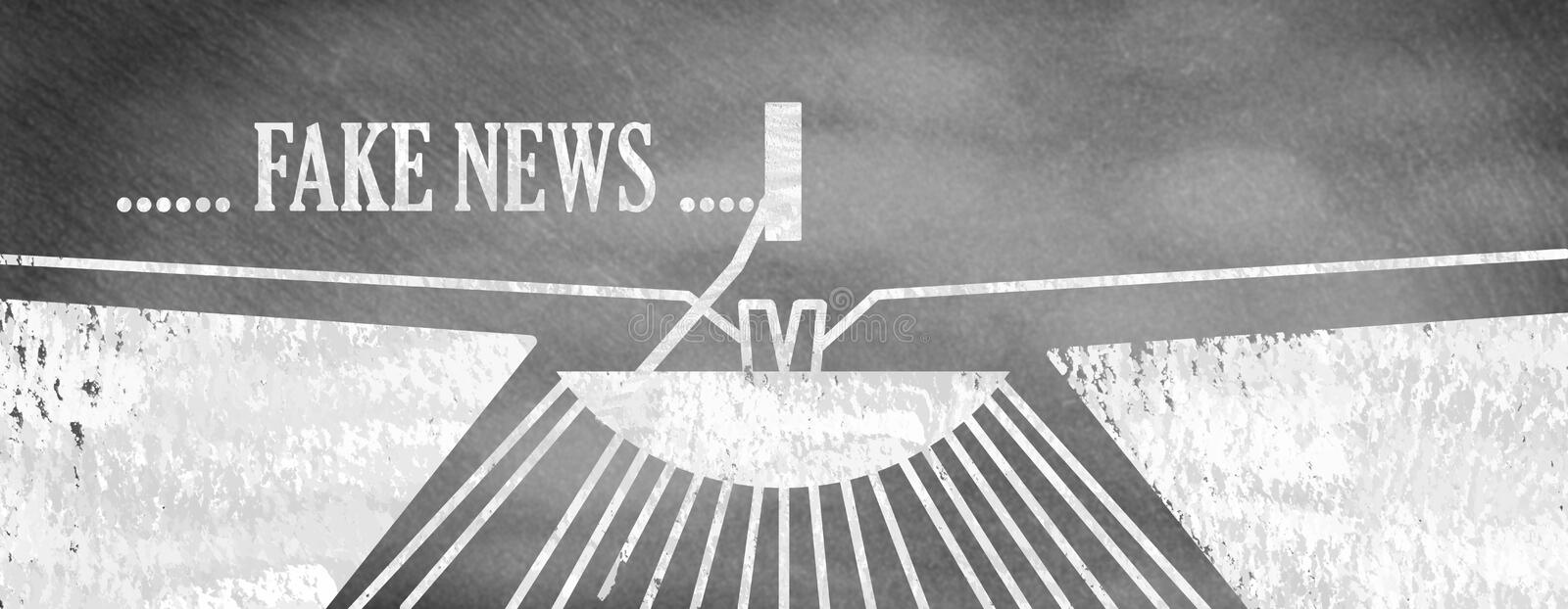 Fake news and concept of the headlines. Drawing on board royalty free illustration