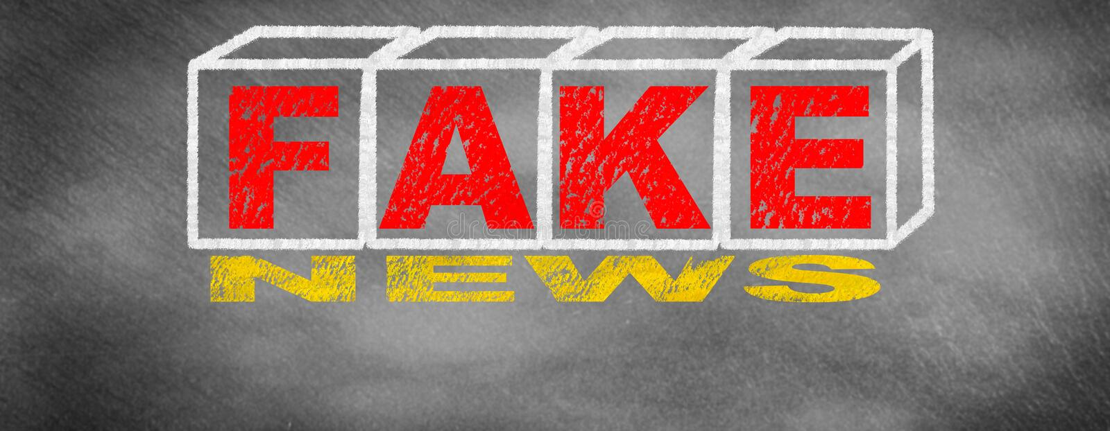 Fake news and concept of the headlines. Drawing on board stock illustration