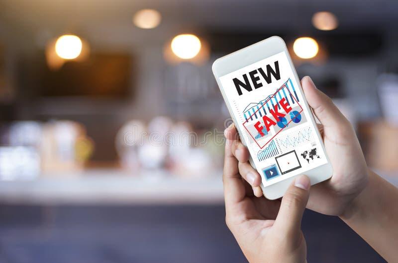 Fake news concept man reading news media technology on smartphone just Fake stock photos