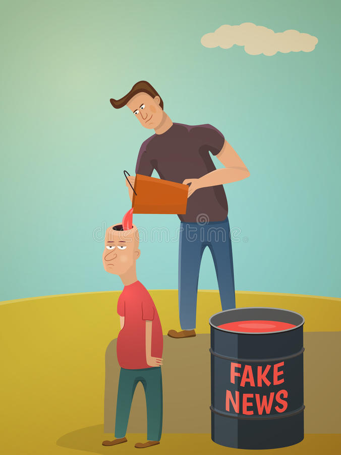 Fake news concept. Metaphor about contemporary media royalty free illustration