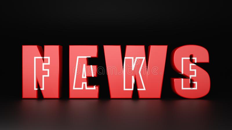 Fake News Concept. Red News Text with Fake Word Inside It on Dark Background 3D Illustration vector illustration