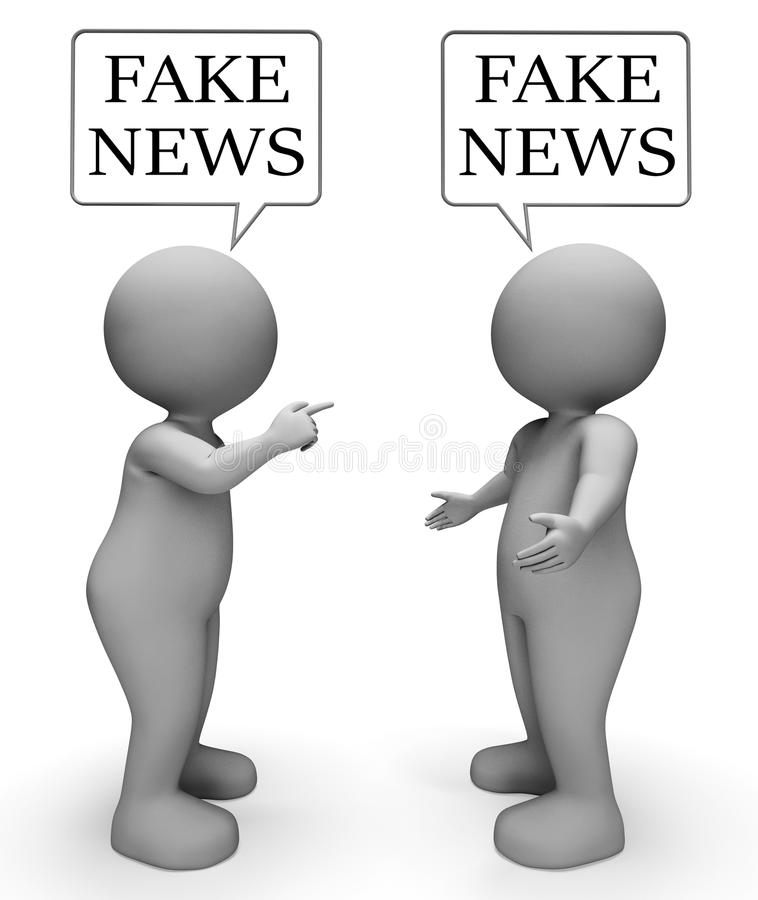 Fake News Discussion Between Characters 3d Illustration. Fake News Discussion Between Characters Means Untrue 3d Illustration royalty free illustration