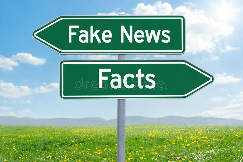 Fake News or Facts. Two green direction signs - Fake News or Facts