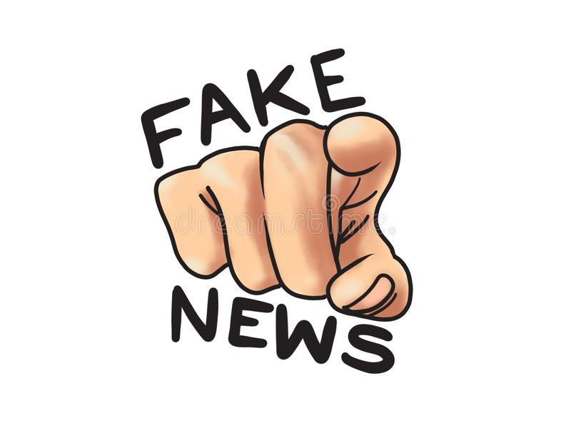 Fake News Hand Pointing You Cartoon Illustration. You are fake news, finger pointing at the media vector illustration