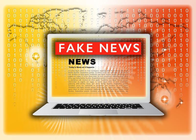 Fake News. This image is for a Fake News concept and shows an illustration of a generic laptop computer and key board with the title of Fake News report on the vector illustration