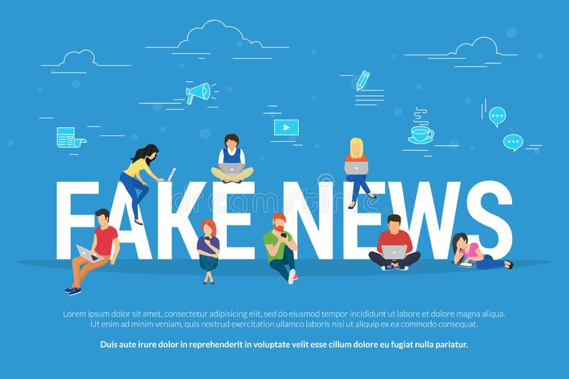 Fake news and and information fabrication concept flat vector illustration of young people reading fake news. Fake news and and information fabrication concept vector illustration