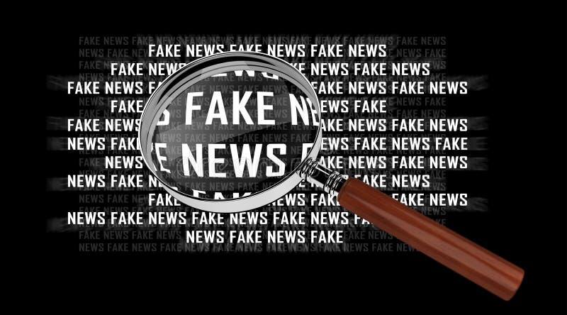Fake news information through magnifying glass 3D rendering. On black background stock illustration