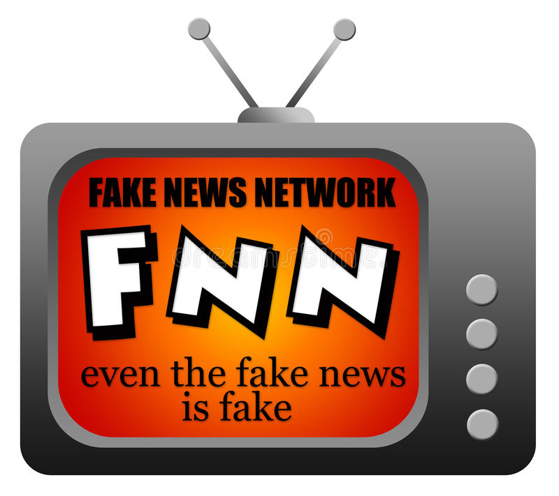 Fake news network. Television network broadcasting fake news stock illustration