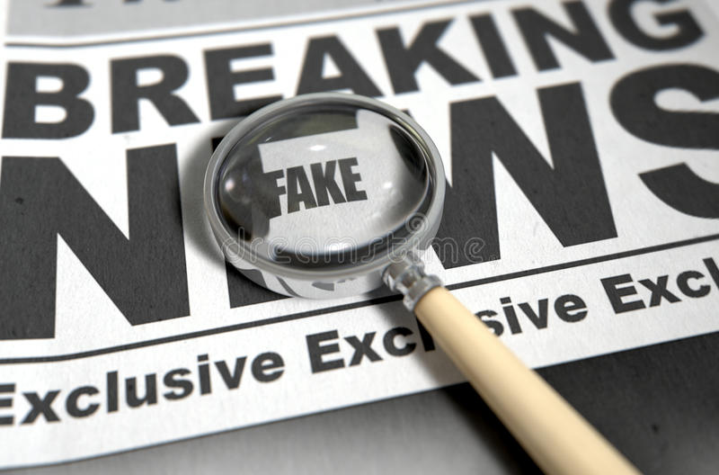 Fake News Newspaper. A fake news concept showing a printed newspaper with a magnifying glass highlighting an underlying message on the front page headline - 3D vector illustration