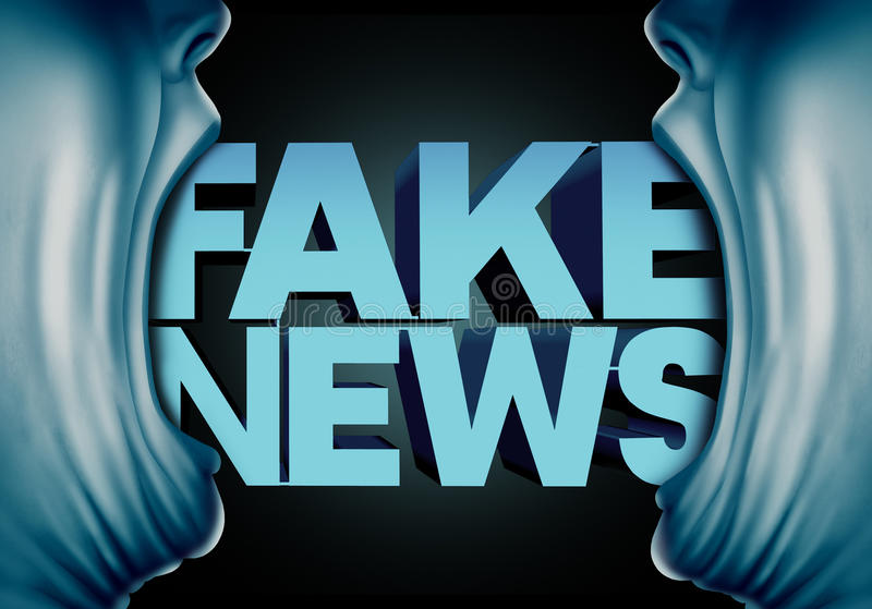 Fake News Reporting. Concept and hoax journalistic reports from anonymous sources as people with open mouths with text as false media reporters metaphor and vector illustration