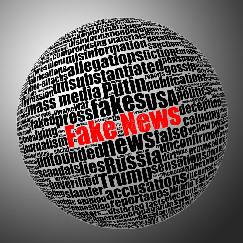 Fake news sphere tag cloud. Black and white stock illustration with selective red color effect stock illustration