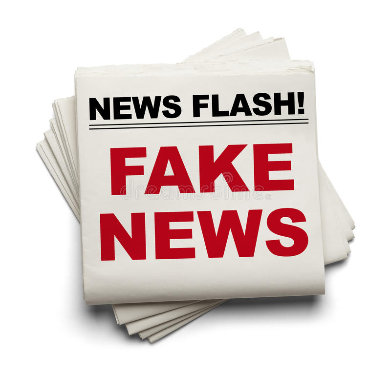 Fake News Stack of Papers. Stake of Newspapers That Say Fake News Isolated on White Background vector illustration