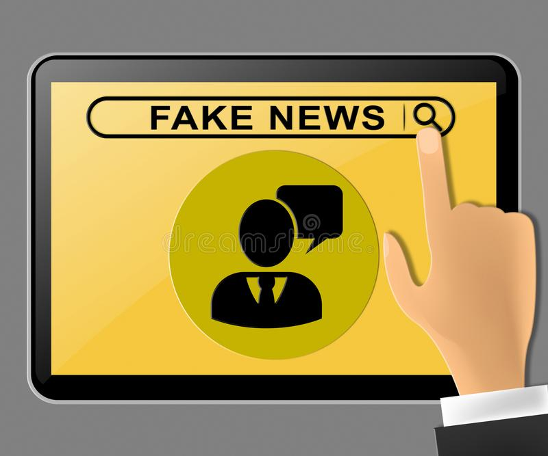 Fake News Tablet Computer Message Being Pushed 3d Illustration. Fake News Tablet Computer Message Pushed 3d Illustration royalty free illustration