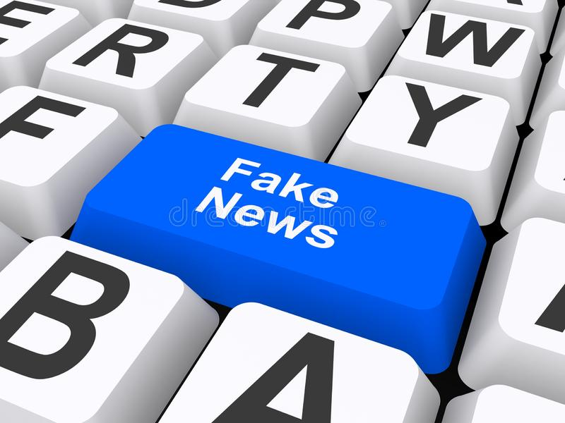 Fake news illustration. Fake news text graphics illustrated on 3D computer keyboard key royalty free illustration