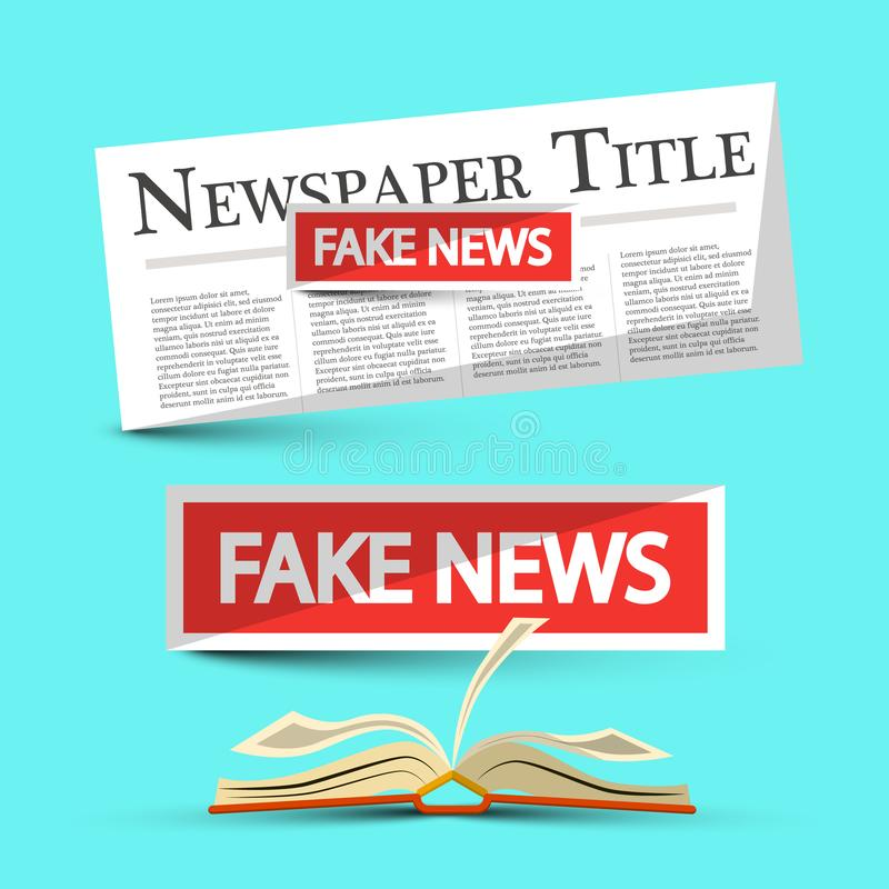 Fake News Title on Newspapers and Book. Vector Illustration stock illustration