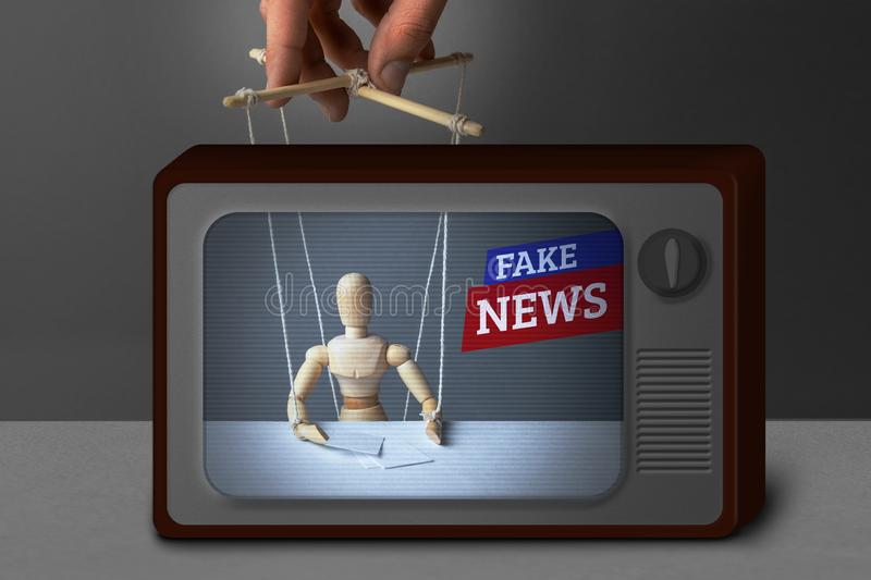 Fake News on TV. The correspondent as the doll controls the puppeteer. Lying information to trick people on TV stock photos