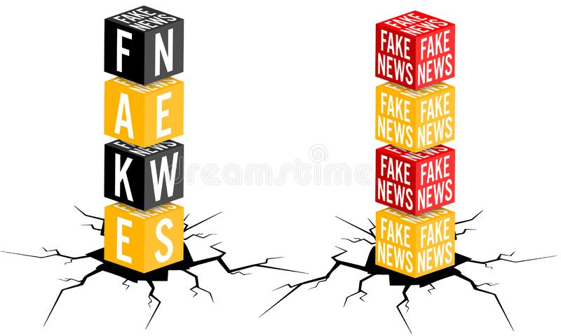 Fake news. Two vector objects wtih topic of fake news vector illustration