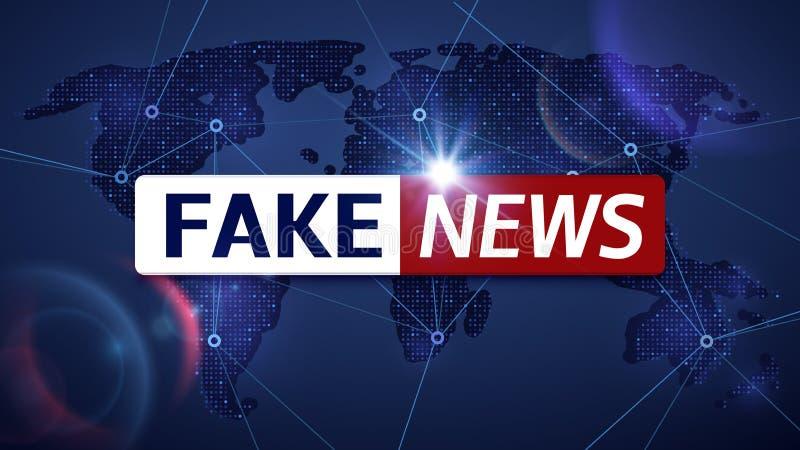 Fake news vector broadcasting television background. Fake news television broadcast screen illustration royalty free illustration